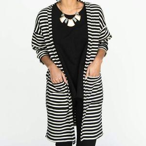 NWT Black & white striped long sleeve cardigan